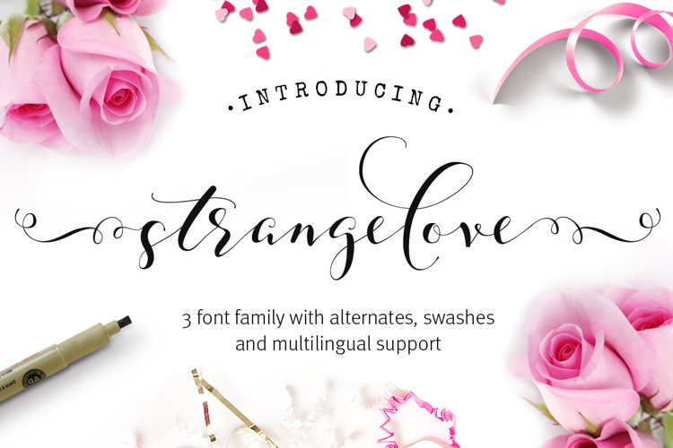 Strangelove Calligraphy Font - wedding font example image 1