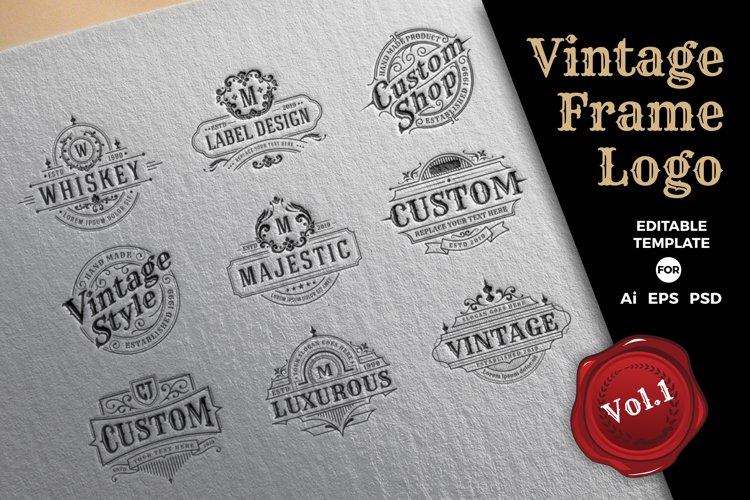Retro Vintage Frame Logo Template
