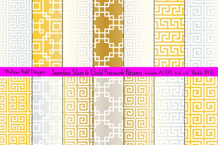 Seamless Silver and Gold Fretwork Patterns