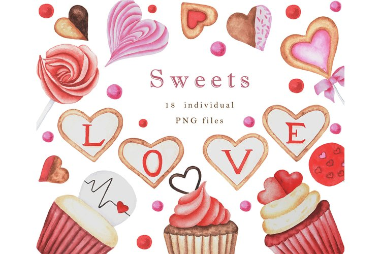 Valentines day watercolor clipart. Valentine Sweets