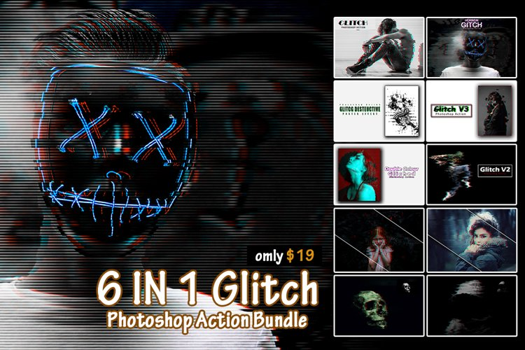 6 in 1 Glitch Photoshop Action Bundle example image 1