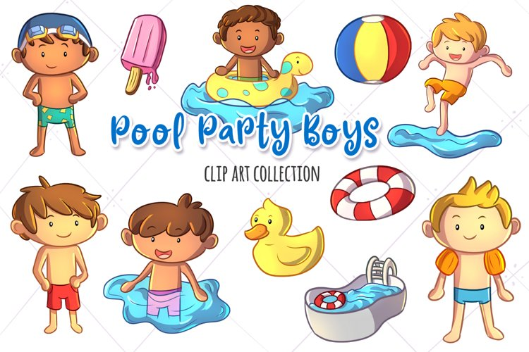 Pool Party Boys Clip Art Collection example image 1