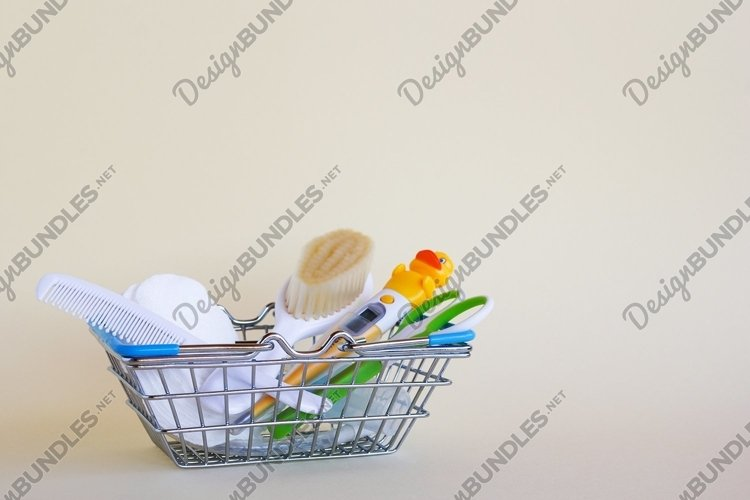 Shopping basket with baby care items. example image 1