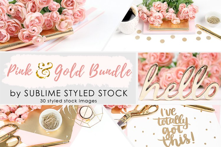 Pink and Gold Styled Stock Photo Bundle - 30 Images example image 1