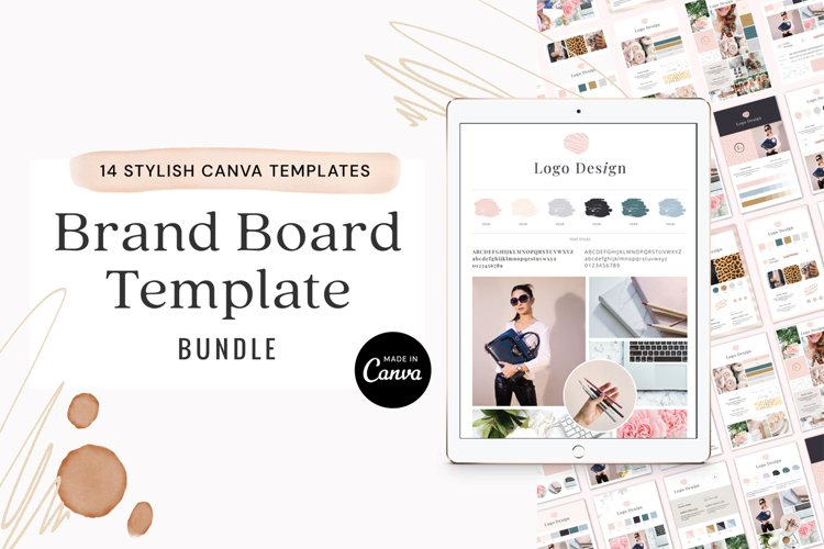 Brand Board Template Bundle Canva example image 1