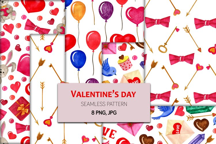Valentines Day watercolor seamless patterns