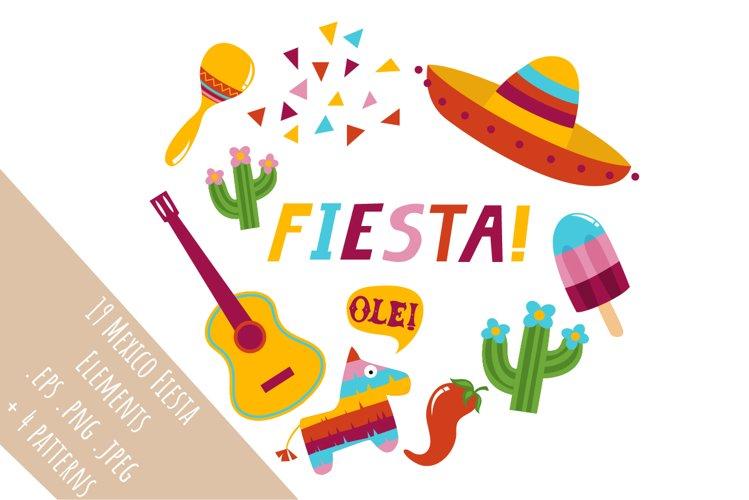Set of 19 Mexico Fiesta illustartions + 4 patterns