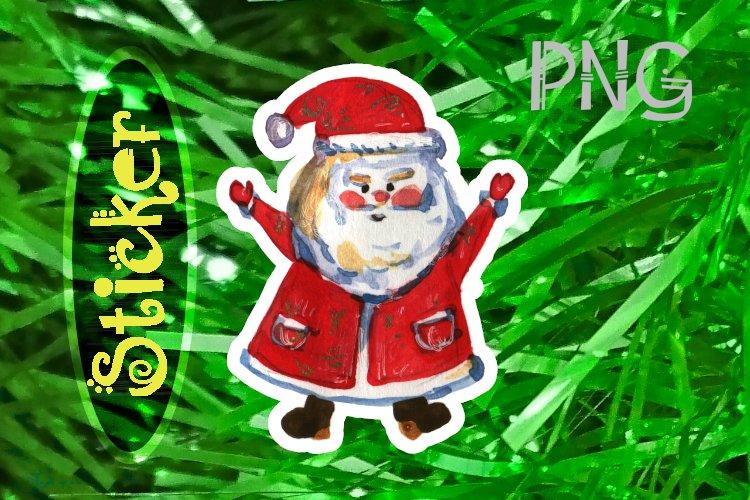 Watercolor Santa Claus sticker, hands up example image 1