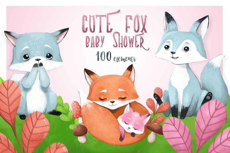 CUTE FOX - baby shower set example image 1