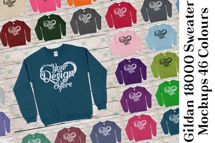 Gildan Sweatshirt Mockup 18000 Mock Up Black White Grey 936 example image 1