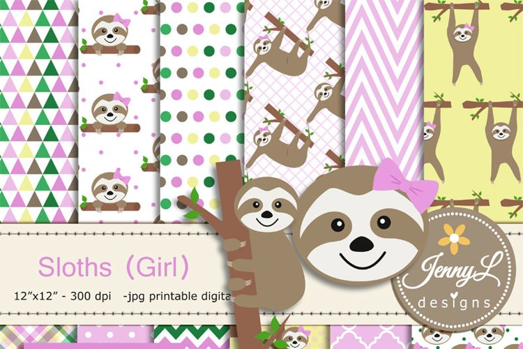 Sloth Girl Digital papers and Sloth Clipart SET, Sloth Party Animal for Birthday, Baby Shower, baptism Scrapbooking, Planner example image 1