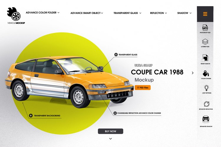 Coupe car 1988 mockup