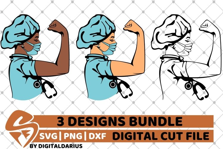 3x Doctor Strong Black Woman Bundle svg, Stethoscope vector example image 1