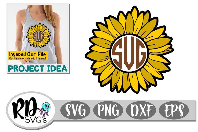 Sunflower Monogram Frame - A Summer Layered Cut File