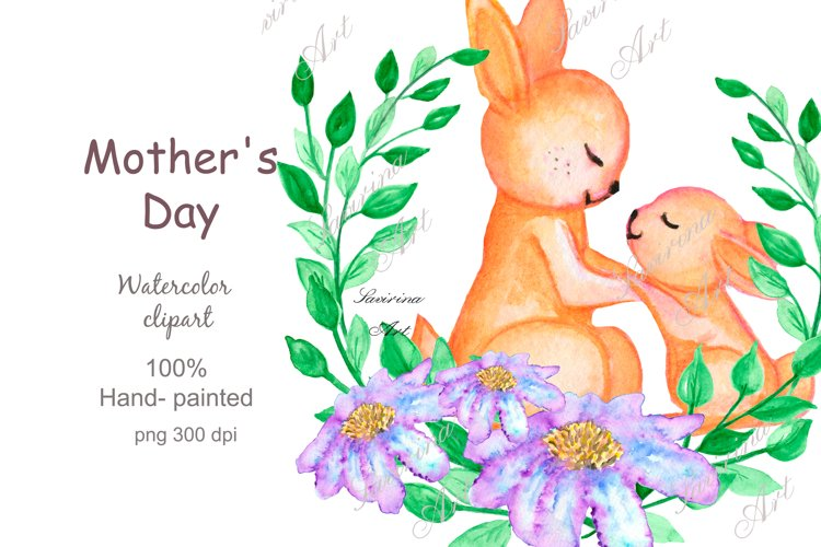 Watercolor clipart Mother and Baby.Bunny Little animals .