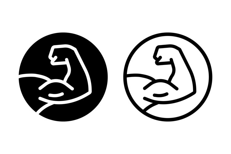Muscle icon logo. Strong hand icon. Bodybuilding and fitness example image 1