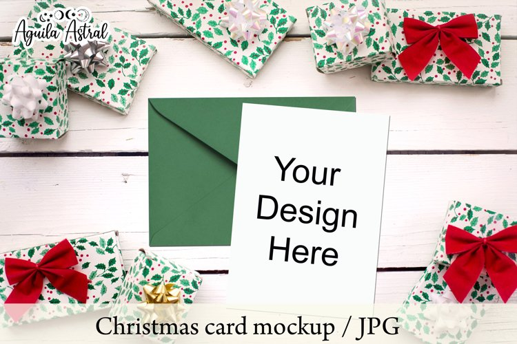 Pack of 3 JPG Christmas Card Mockups, Holiday Card Mockup