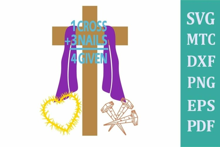 Easter Religious Cross Nails Forgiven Set SVG Cut File example image 1