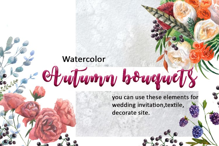 Watercolor autumn bouquets. example image 1