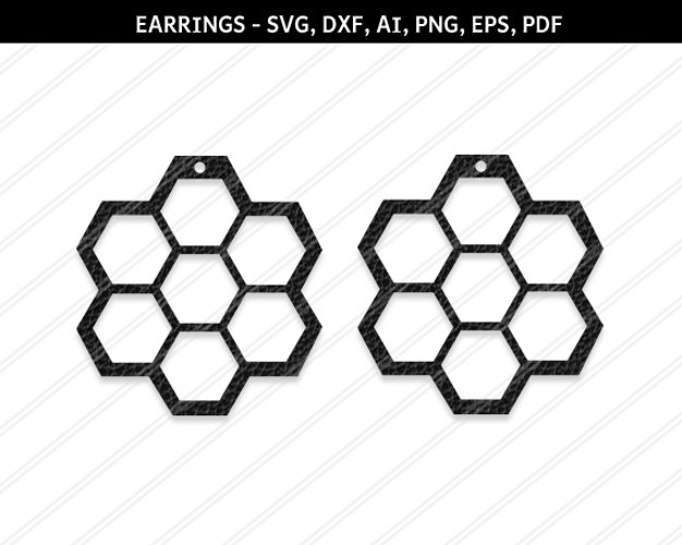 Honeycomb Earrings svg, Abstract earrings svg, Jewelry svg example image 1
