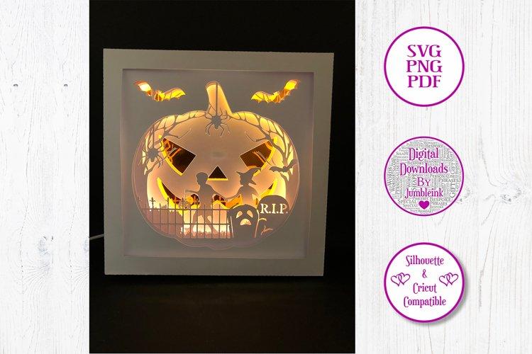 Jack O'Lantern Pumpkin Halloween - 3D Paper Cut Shadow Box example image 1