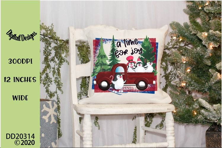 Christmas Penguins Red Truck Sublimation example image 1
