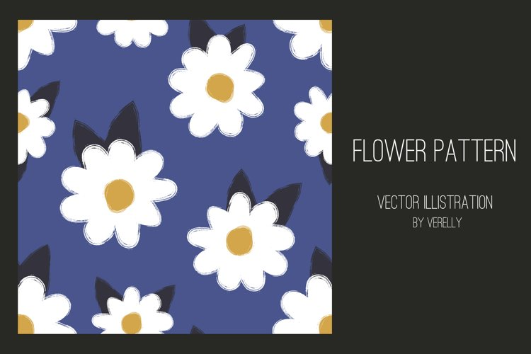 Seamless pattern with white chamomile flowers on blue. example image 1
