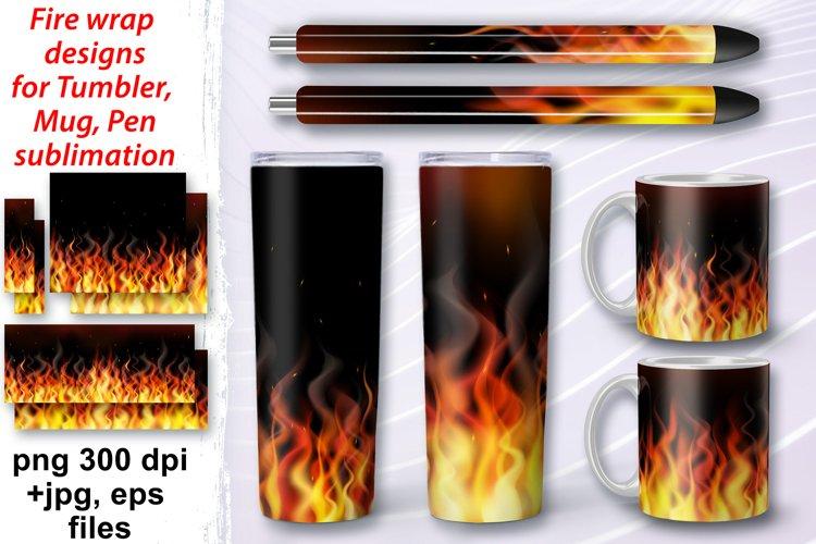 Tumbler sublimation Mug Pen Fire Flame wrap huge bundle