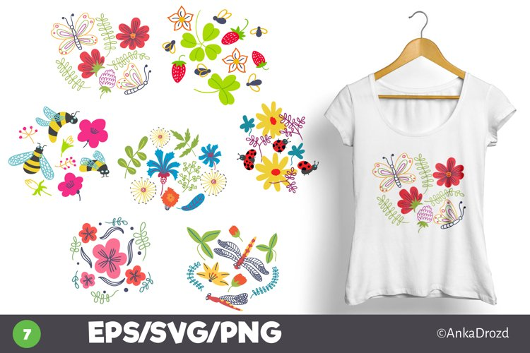 Summer Wildflowers and insects clipart