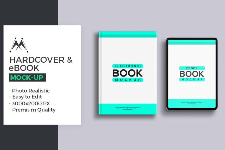 Hardcover Book & eBook Mockup