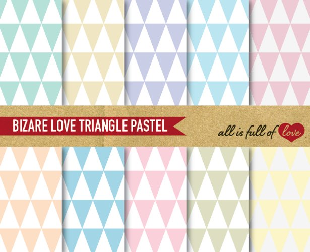 Triangles Pattern Digital Paper Geometric Backgrounds Pastel example image 1
