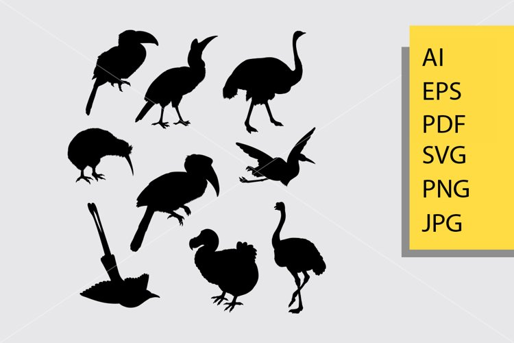 Toucan and bird animal silhouette example image 1