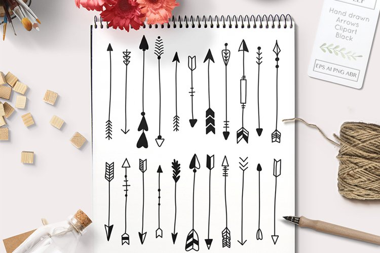 Vector arrows graphics set including Photoshop Brushes example image 1