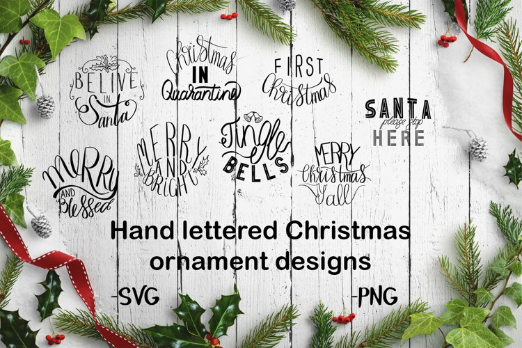 Hand lettered Christmas ornament designs example image 1