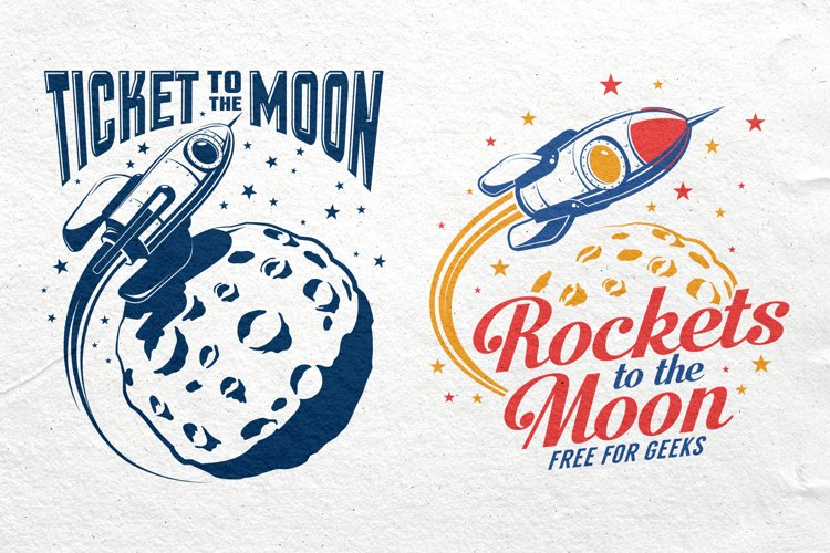 Space Rocket And Moon Set example image 1