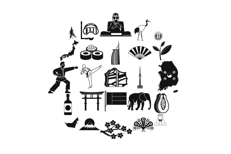 Sporting pastime icons set, simple style example image 1