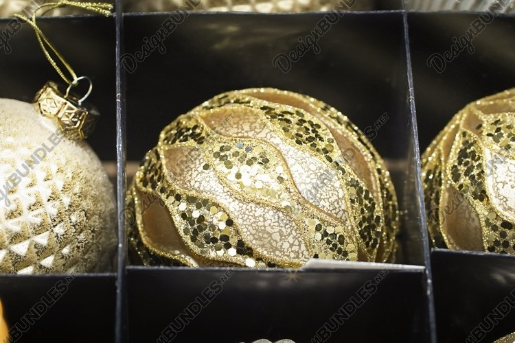 Christmas gold ornaments set in black box example image 1