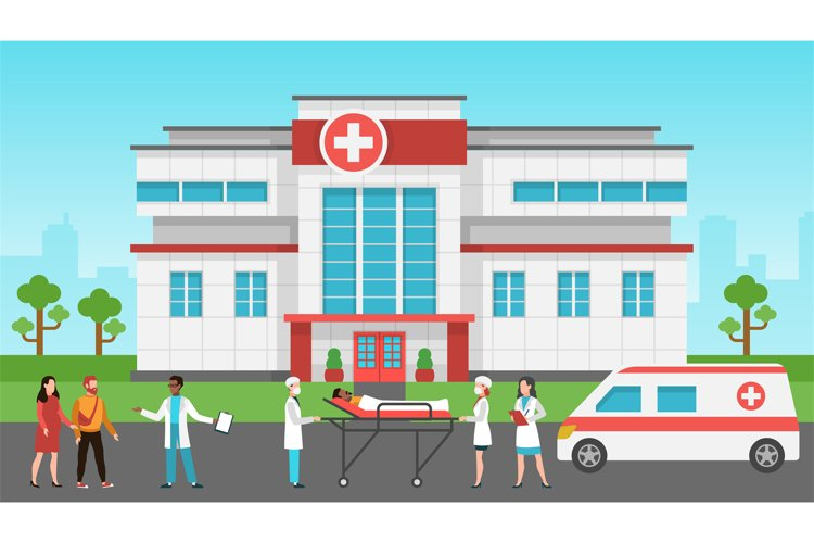 Hospital exterior. Panorama medical building, health centre. example image 1