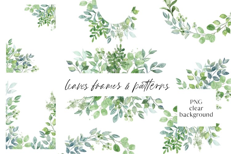 Leaves watercolor clipart set. Hand painting