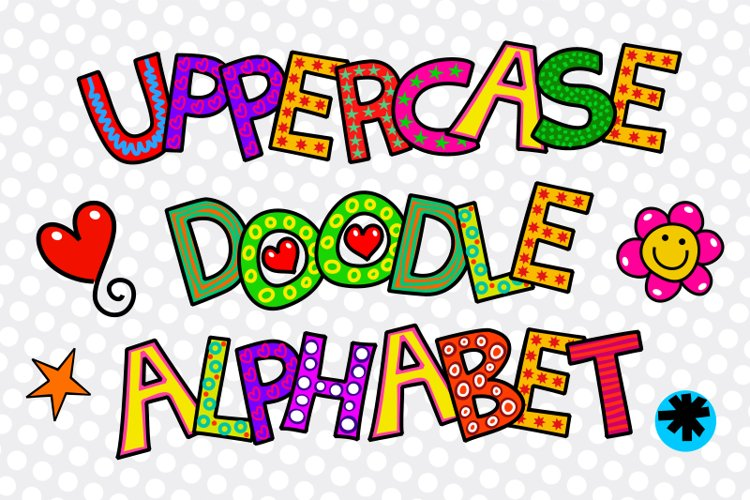 Hand Drawn Uppercase Alphabet Doodle Letters