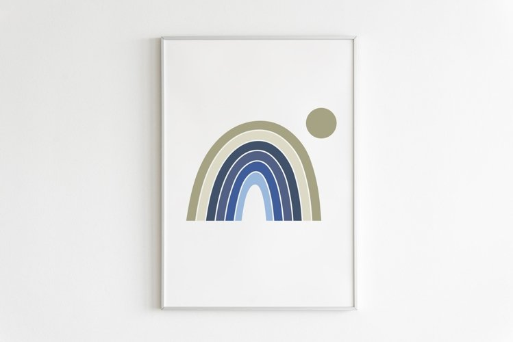 Abstract Blue Rainbow Printable, Nursery Boho Decor example image 1