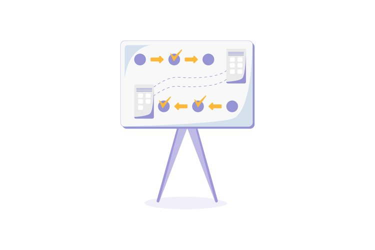 Whiteboard with plan flat color vector object example image 1