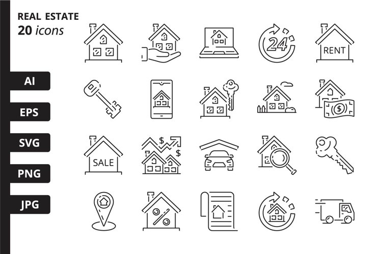 20 Real estate Icons, colored and outline style