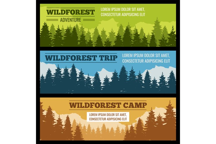 Journey, camping vector banners set with pine tree silhouett
