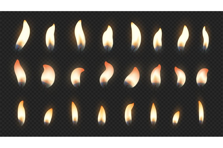 Candle flame. Realistic fire light effects for birthday cake example image 1