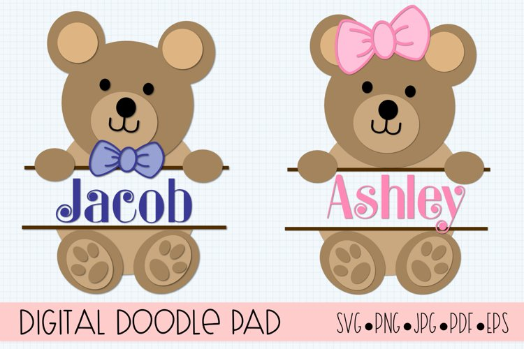 Teddy Bear SVG Split Monogram | Silhouette & Cricut Cut File