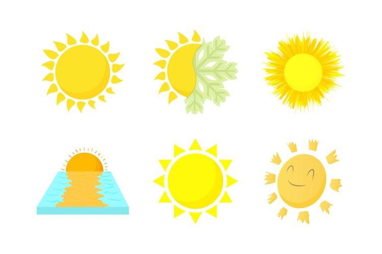 Sun icon set, cartoon style example image 1