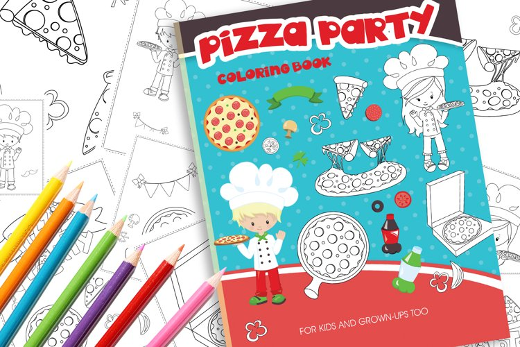 Pizza Party Coloring Book example image 1