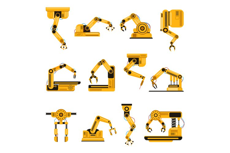 Robotic arms. Manufacturing industry mechanical robot arm example image 1