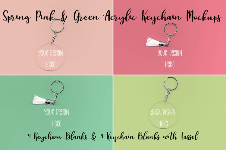 Spring Pink & Green Clear Acrylic Mockups Keychains